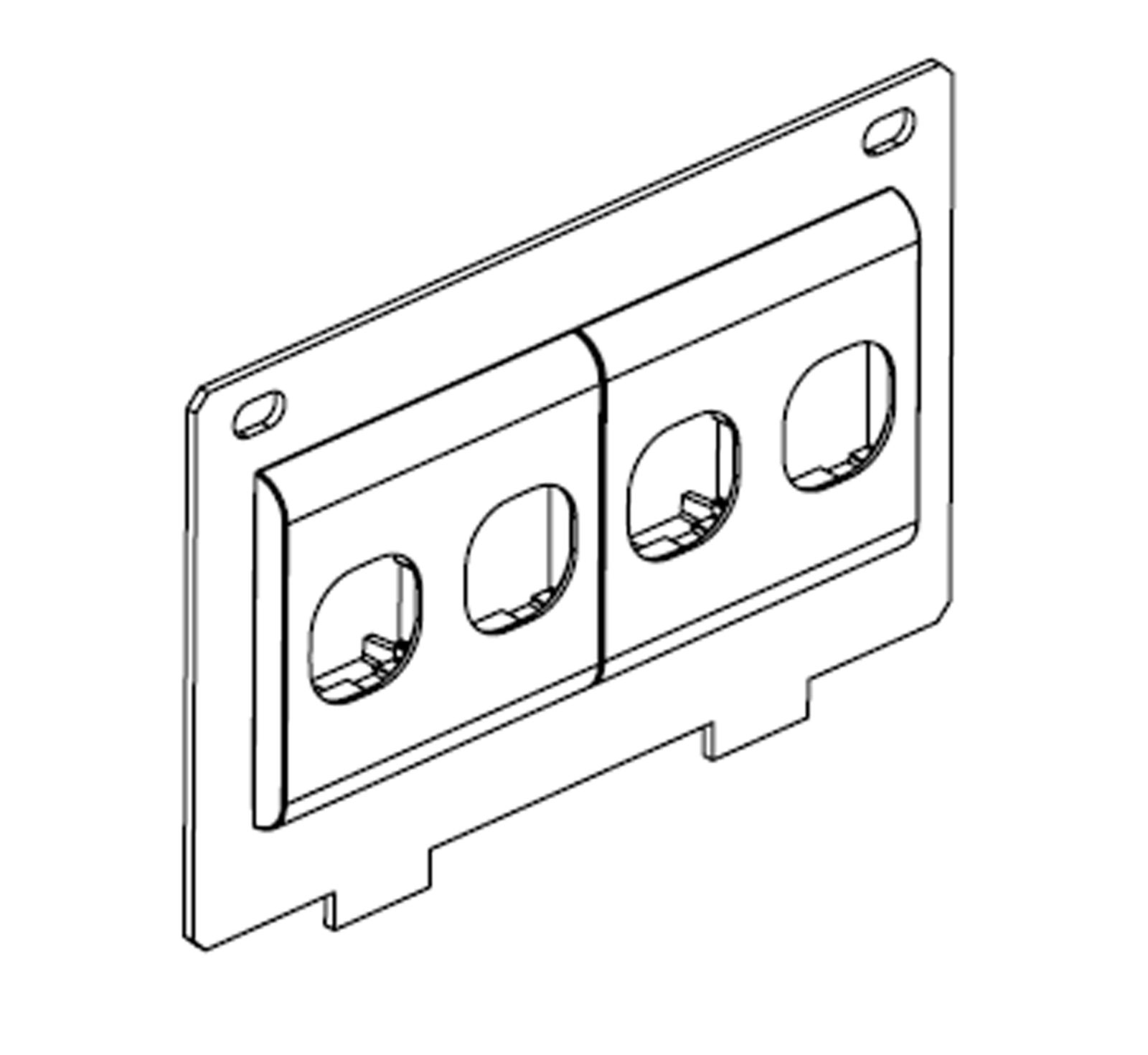 Adapter Plate To Suit 2 X 50mm Dual Tiles 4 X Data