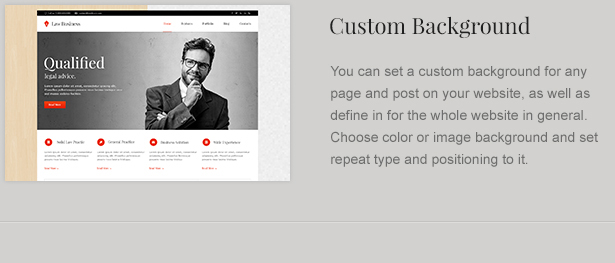 Custom Page Background for Attorney Theme
