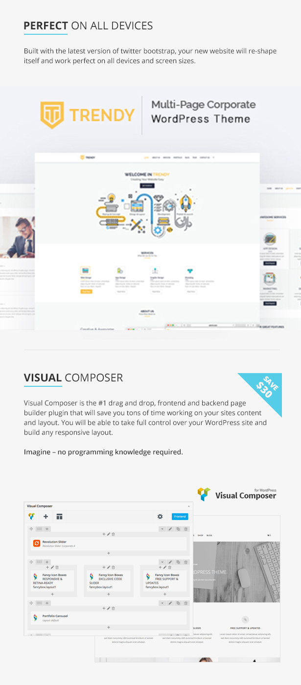 Trendy - MultiPage Corporate WordPress Theme - 6