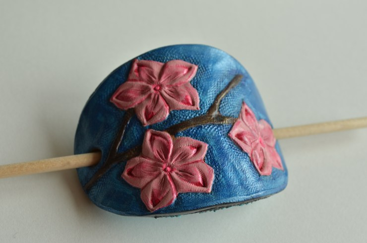 Cherry blossom tooled leather hair slide
