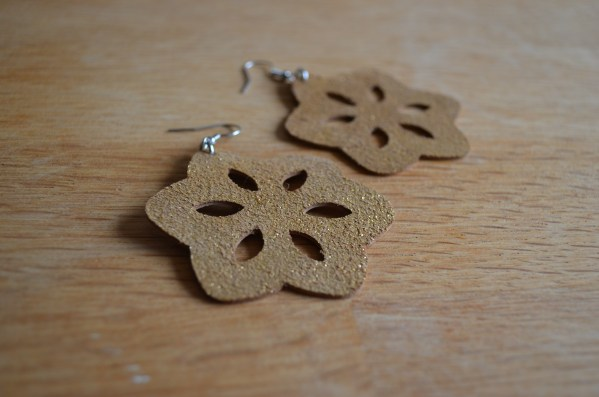 Large sparkly gold leather flower earrings