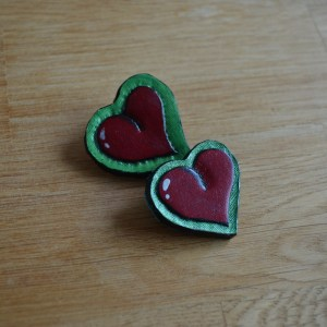 Hand-tooled, retro-style heart brooch