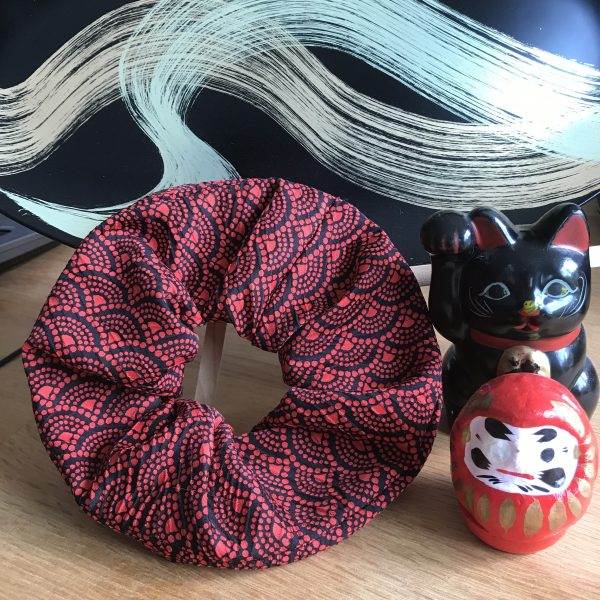 Large red and black kimono scrunchie