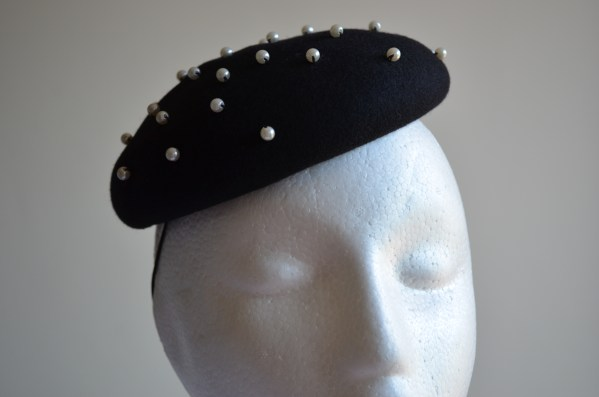 Black Button hat with pearls