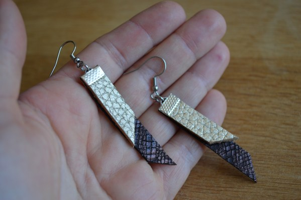 Bronze and gold leather drop earrings