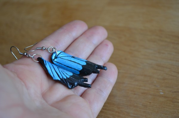 Tooled Butterfly earrings - blue and black_blue morpho