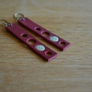 Red leather circles earrings
