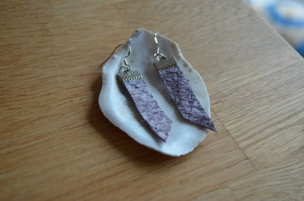 Lilac fish leather earrings