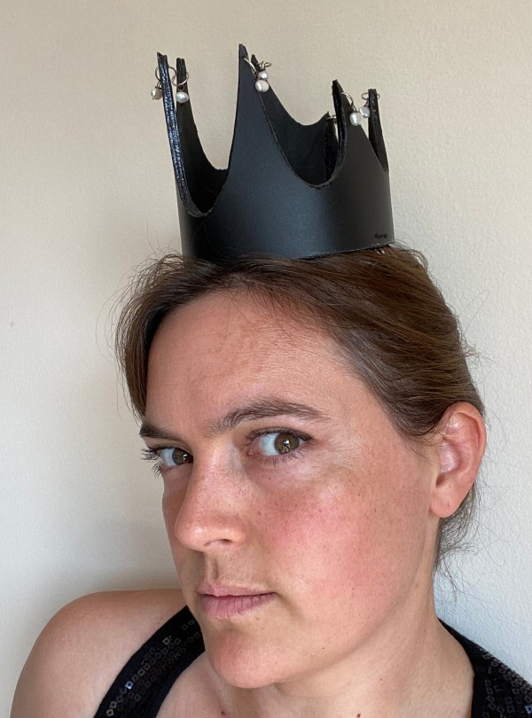 Black leather, spikey crown with pearl detail
