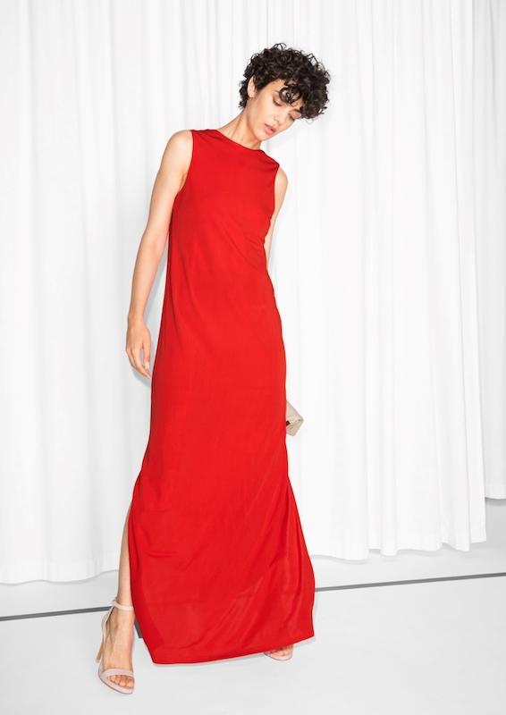 ClioMakeUp-look-invitata-matrimonio-estate-2017-settembre-agosto-rosa-seta-saldi-andotherstories-rosso