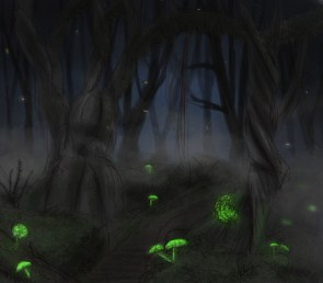 Concept art for the cursed forest.