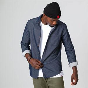 Vêtements chemise en jean brut homme et bonnet noir 1083, fabriqué en France en Auvergne-Rhône-Alpes