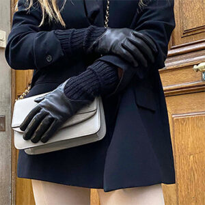 Gants noir cuir montants Agnelle, fabriqués en France dans le Limousin