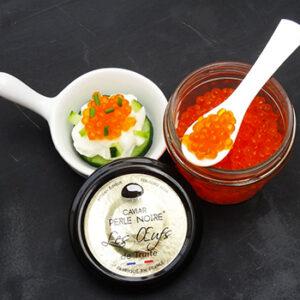 Caviar Perle Noire oeufs de truite, élevage français
