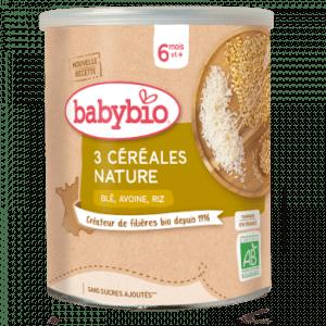 Alimentation infantile 3 céréales nature Babybio, fabriqué en France