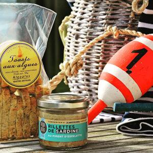 Produits marins rillettes de sardine et toasts aux algues Algoplus, élaborés en France en Bretagne