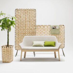 Canapé blanc et paravent en osier Alki, fabriquées en France dans le Pays-Basque