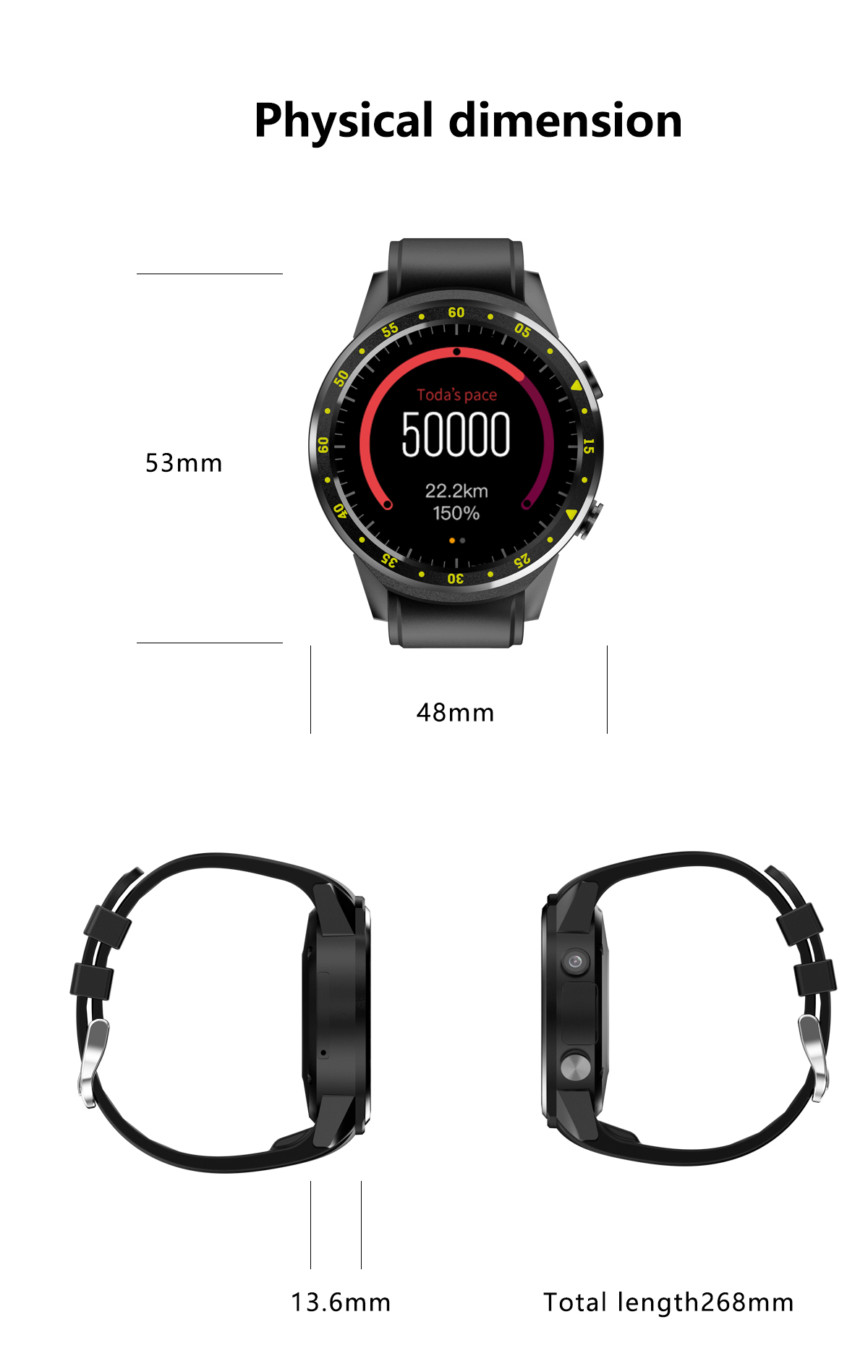 BLACK GPS Smartwatch Bluetooth Phone Watch Heart Rate