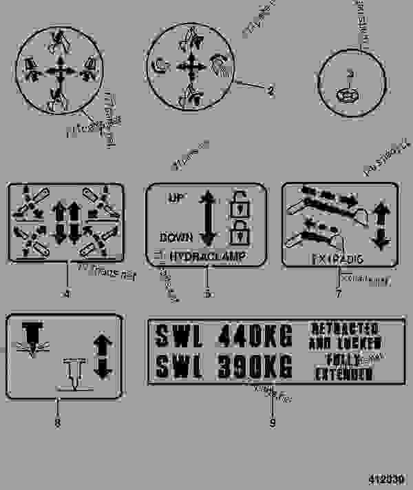 DECALS, CONTROL, EXCAVATOR, JCB + PATTERN, BLACK & SILVER