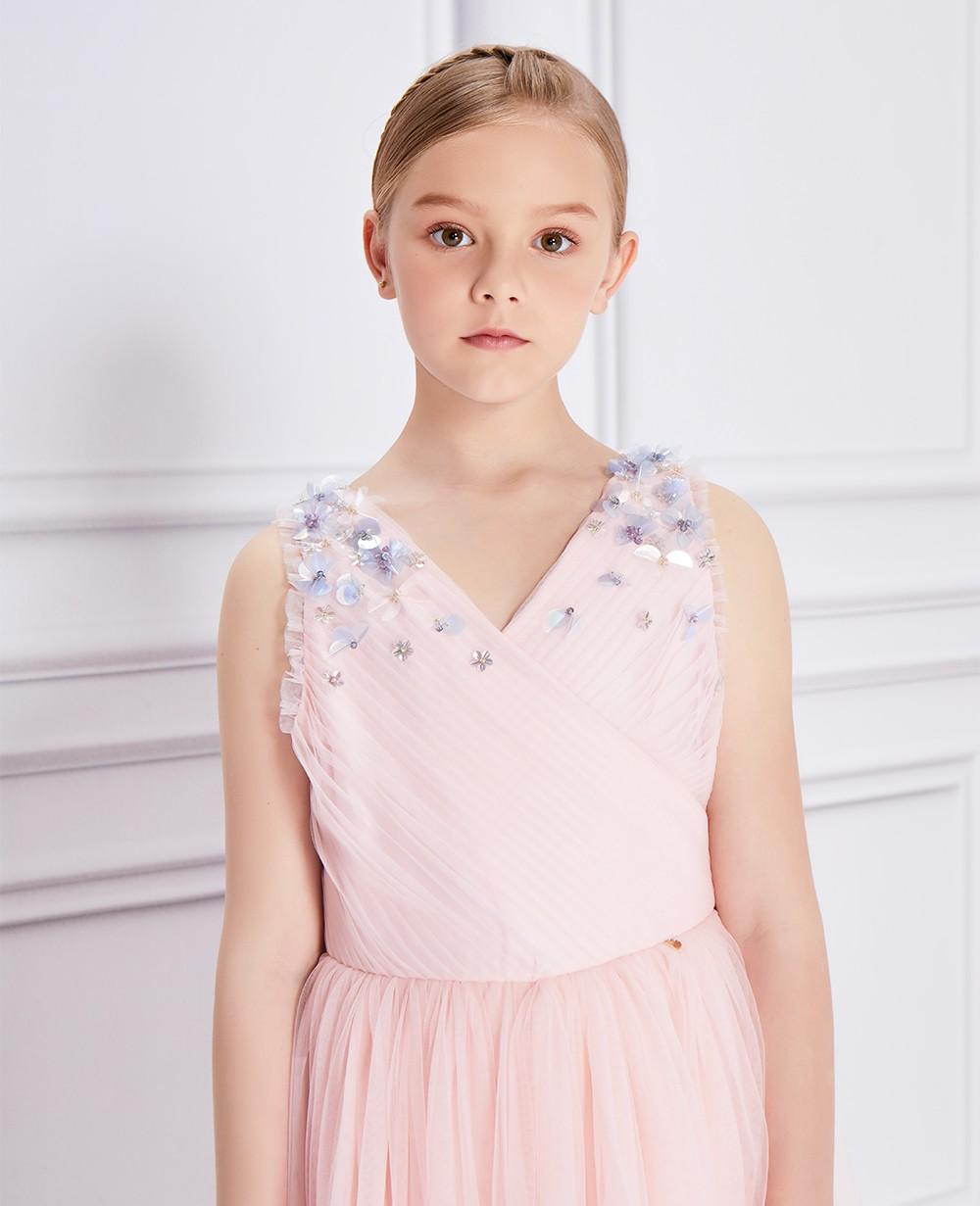 粉色網紗亮片釘珠禮服裙公主裙