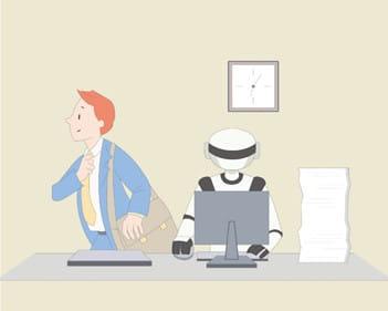 終業時間を過ぎ、人間の社員はみんなオフィスから帰っていくが、ロボットは。。。。