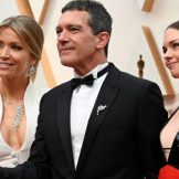 Nicole Kimpel (left), Spanish actor Antonio Banderas and daughter Stella Banderas arrive greet photographers on the red carpet. Picture: AFP