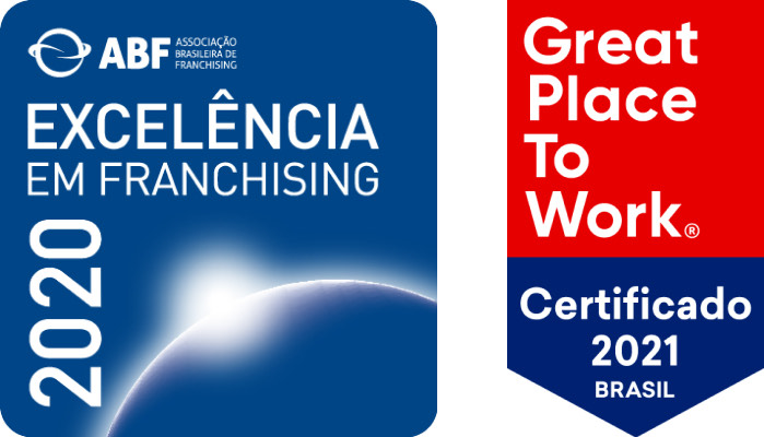 Selo ABF excelência em Franchising e Great Plate to Work 2021