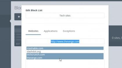 Cold Turkey default block list