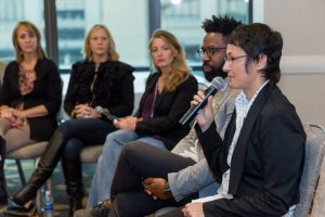 Ubergizmo co-founder Eliane Fiolet hosts a discussion on diversity in technology start-ups at the 2016 Intel Capital Global Summit on Wednesday, Oct. 26, 2016. The 2016 Intel Capital Global Summit takes place Oct. 24-26 in San Diego, California. (Source: Intel Corporation)