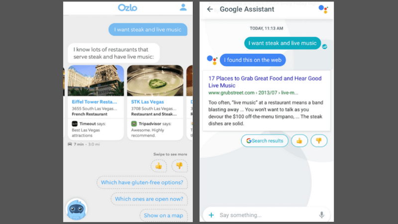 Comparative searches on Ozlo and Google Assistant.