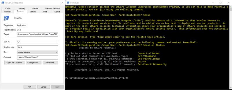Recreating the PowerCLI Desktop Shortcut