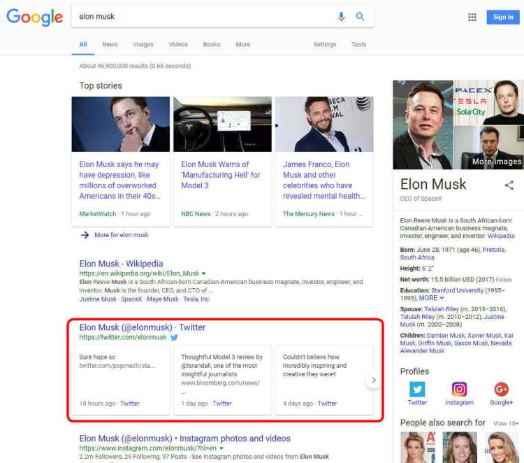 Elon Musk Tesla CEO Twitter profile in Google search results