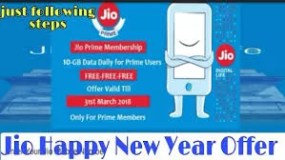 Jio happy new year offer 2018 : Get Free 10 GB data for All customers with 28 days