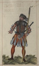 Startled man, 16th century manuscript