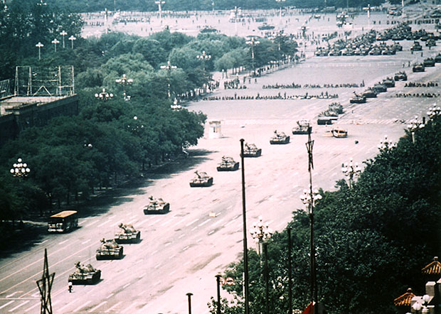 Wide Show of Tank Man at Tiananmen
