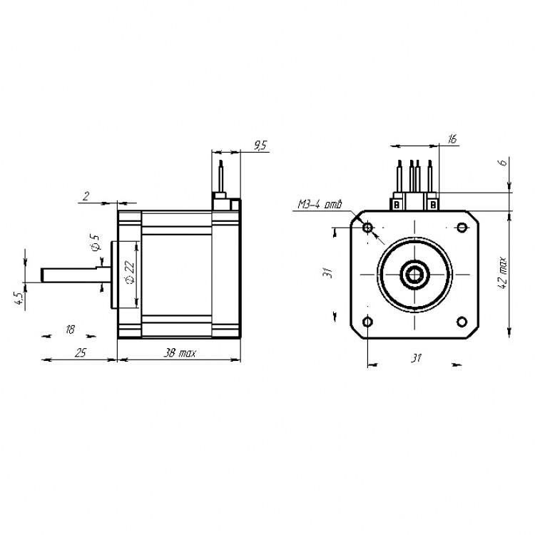 Купить Шаговый двигатель NEMA 17 (17HS4401) в интернет