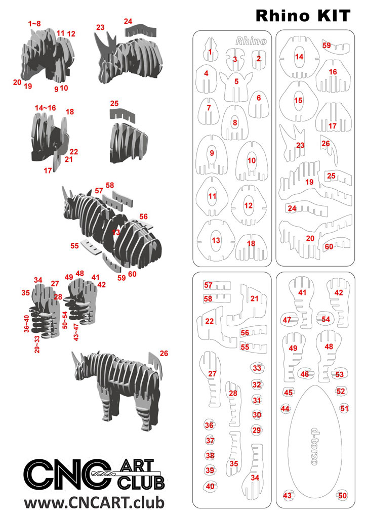 3D Rhino DXF plan for CNC router and Laser cut