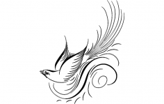 Calligraphy Bird Vector dxf File