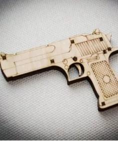 Pistol 3D Laser Cut Free Vector