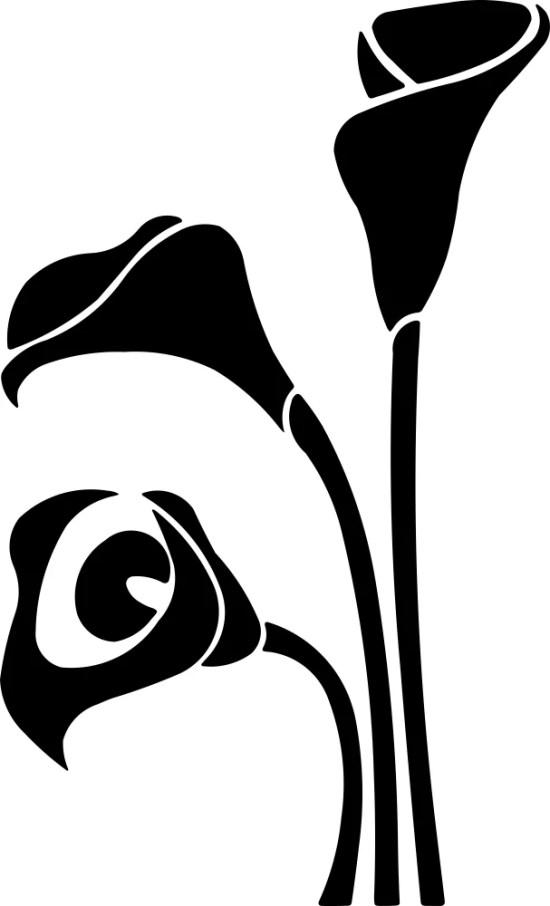 Black White Flower Decor Vector Free Vector
