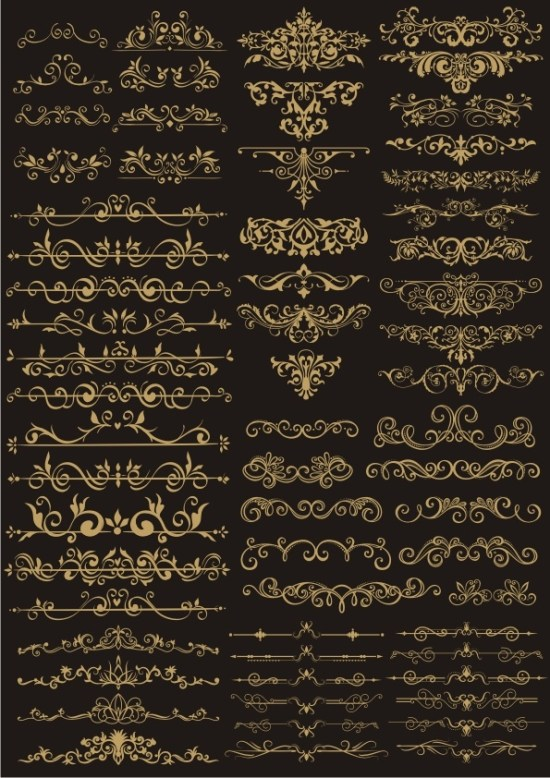 Decor Golden Border Elements Vector Set Free Vector