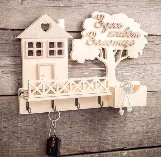 Laser Cut Wooden House Shape Key Hanger Shelf Wall Mounted Template Free Vector