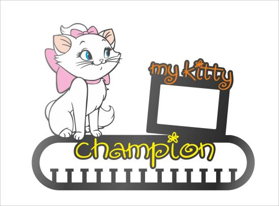 Cat Medal Holder With Photo Frame Laser Cut Template Free Vector