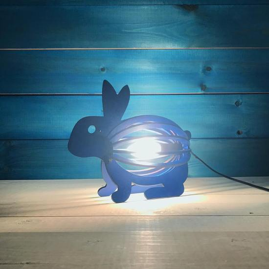 Wooden Rabbit Night Light Bunny Lamp Laser Cutting Template Free Vector