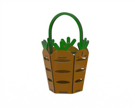 Carrot Easter Basket Laser Cutting Template Free Vector