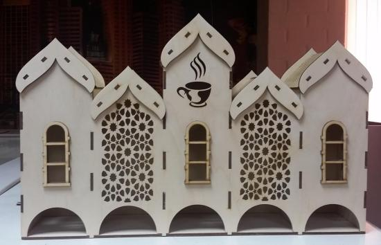 Laser Cut Plywood Tea House Tea Bags Holder With 5 Compartments DXF File