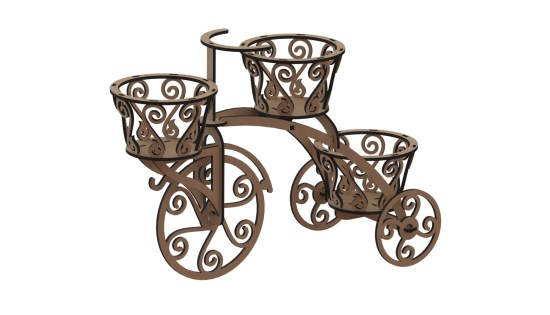 Laser Cut Wooden Tricycle Decrative Flower Box 6mm DXF File