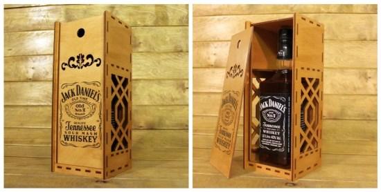 Laser Cut Jack Daniels Whisky Wooden Box Free Vector