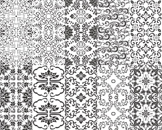 Chinese Patterns Vector Set Free Vector