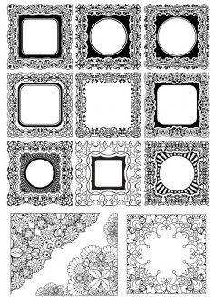 Abstract Floral Borders Free Vector